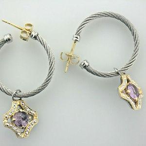 Charriol Cable Hoops18k Diamond Amethyst Earrings